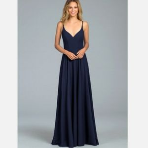Hayley Paige Occasions Indigo Crepe A-Line Gown 16